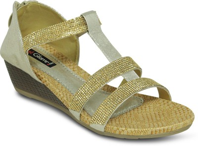 Get Glamr Women Gold Wedges