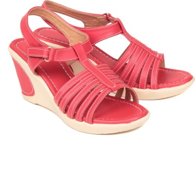 Bare Soles Women Red Wedges
