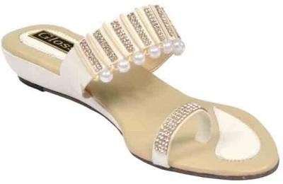 Glossy Women Beige Flats