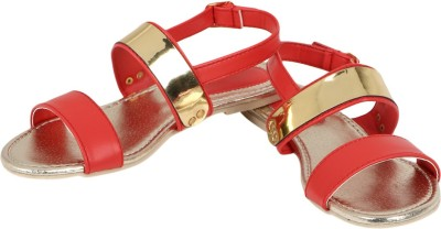 Berrypeckers Women Red, Gold Flats