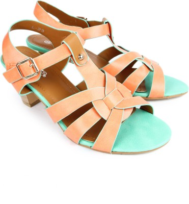 Starchi Women Orange, Green Heels