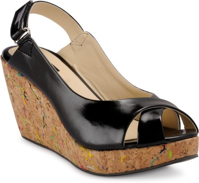 A Click Away Women Brown, Black Wedges