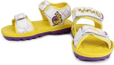 kidsfly Baby Girls, Baby Boys White, Yellow Sandals