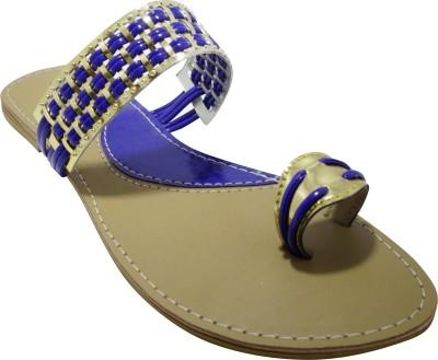 Shiela Women Blue, Gold Flats
