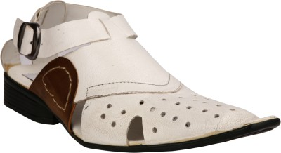 IShoes Men White, Brown Sandals