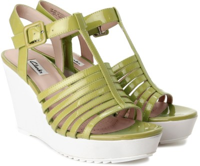 Clarks Scent Lily Women Green Wedges