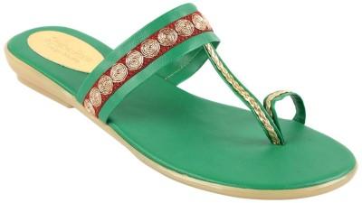 Charu- Diva Design Studio Women Green Flats