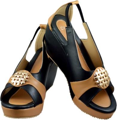 Olive Fashion Women Black, Beige Wedges