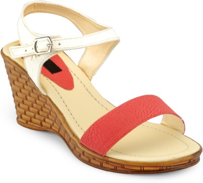 A Click Away Women Brown, White, Red Wedges