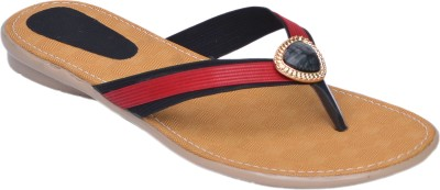 Aadolf Women Black, Red Flats