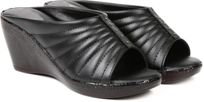 Ka Fashion Women Black Wedges