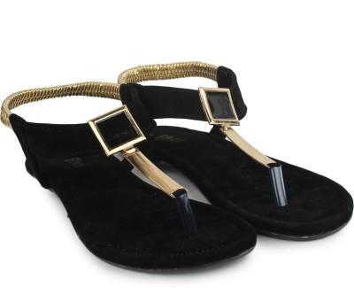 Do Bhai Women Black, Gold Flats