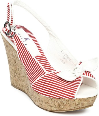 Mast & Harbour Women Red, White Wedges