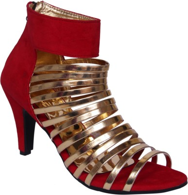 John Sparrow Women Red, Gold Heels