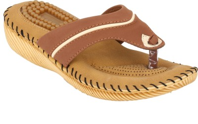 REAL BLUE Women Tan Flats