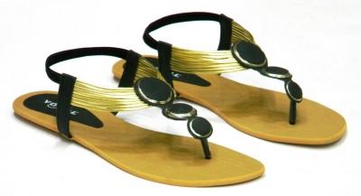 Vogue Women Black, Gold Flats