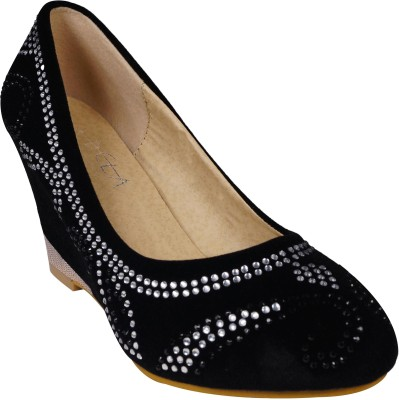 Ladela Women Black Wedges at flipkart