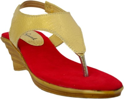 Bpronto Women Red, Gold Wedges