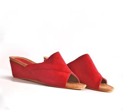 vanson Women Red Wedges
