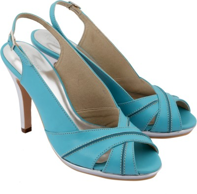 Charu- Diva Design Studio Women Silver, Blue Heels