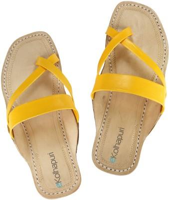 Ekolhapuri Women Yellow Flats
