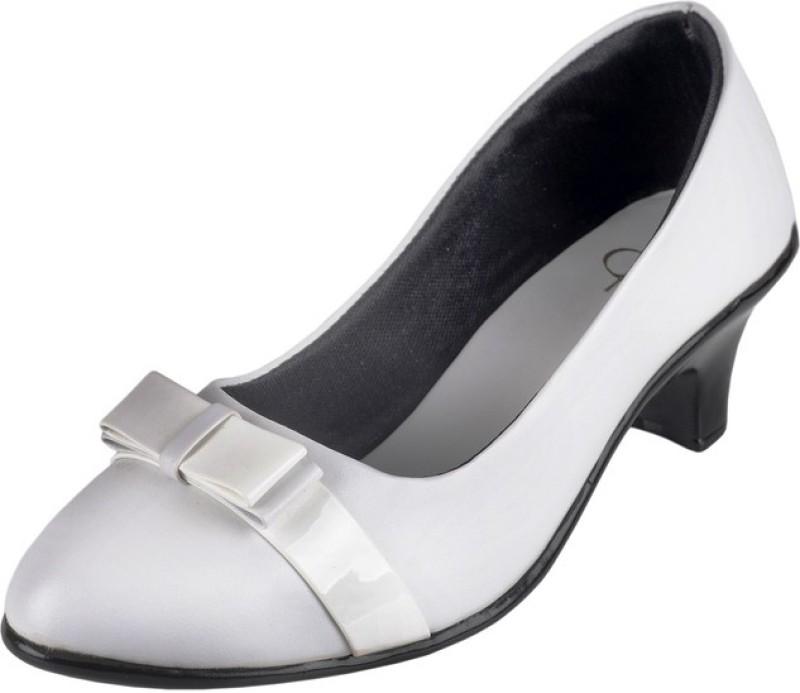 Berry Purple Women White Heels
