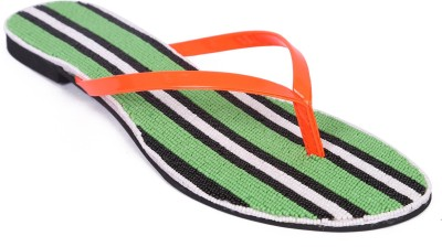 Zotti Women Green, Black, White Flats