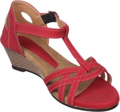 Bare Soles Women Brown, Red Wedges