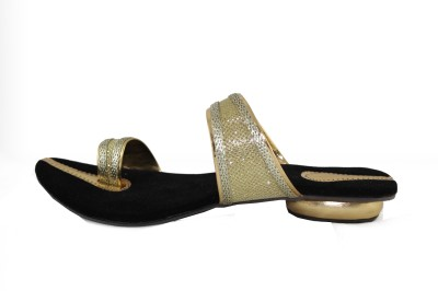 Kala Sanskriti Women Gold, Black Heels