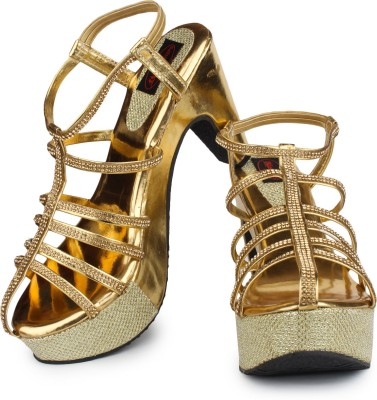 Queen Steps Women Gold Wedges