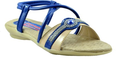 Supreme Leather Baby Girls Blue Sandals