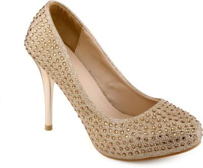 Shuz Touch Women Golden Heels at flipkart