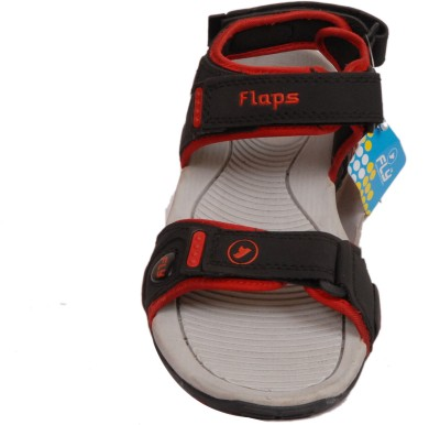 Flaps Men Black, Grey Sandals