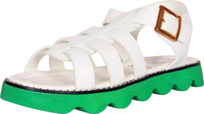 Ole Baby Boys White, Green Sandals