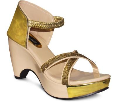 Zikrak Exim Women Beige, Gold Wedges