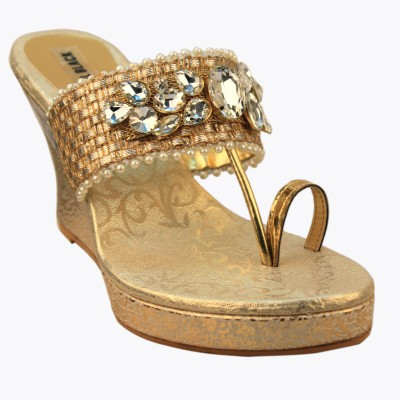 CoalBlack Women Gold Wedges