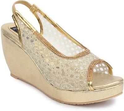 Sindhi Footwear Women Gold Wedges