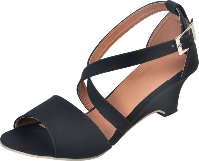 Apick Women Black Wedges