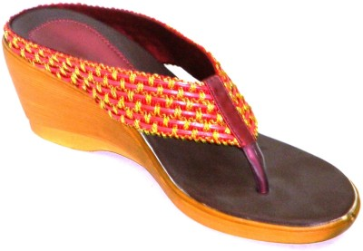 Celebrity Stylish Party and Office Wear Women Maroon, Yellow Wedges