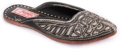 Mojari Women Black, Silver Flats