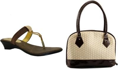 Bpronto Women Brown, Gold Wedges