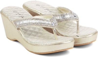 MFT Couture Women Gold Wedges at flipkart