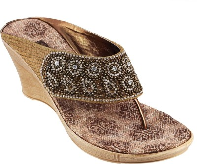 Mochi Party Women Gold Wedges