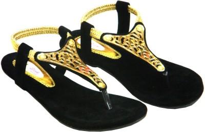 Sleek Women Black, Gold Flats