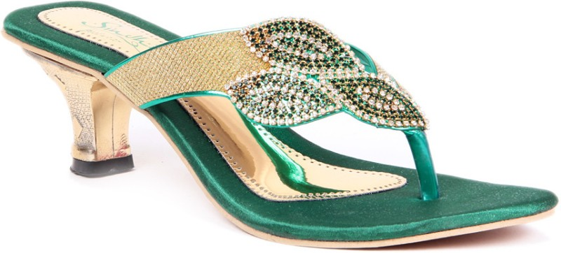 Sindhi Footwear Ethnic Women Green Heels