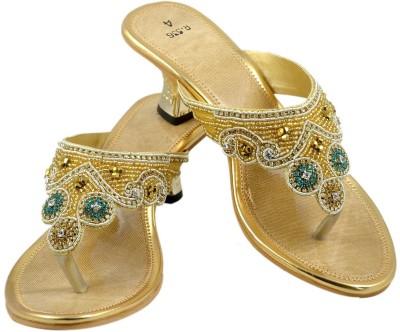 Walk N See Women Gold Heels