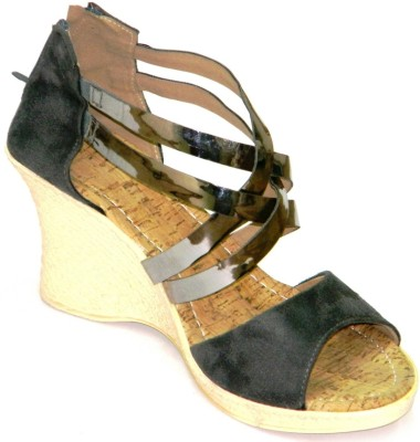 Celebrity Stylish Party and Office Wear Women Grey Wedges