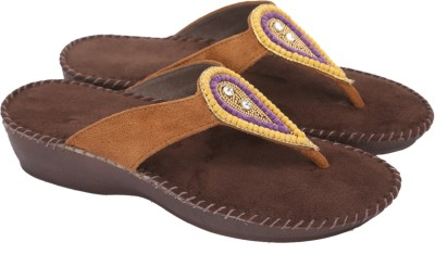 Awssm Women Tan, Purple Flats