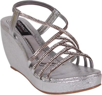 9space Women Silver Wedges