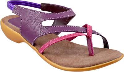 Sahebji Women Purple, Pink Sandals